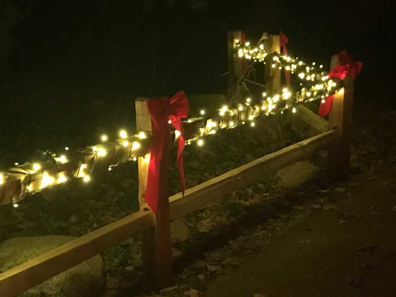 Lights wrapped around top fence rail with red bows at connection points